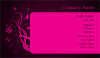 Black and Pink Flower Business Card Template